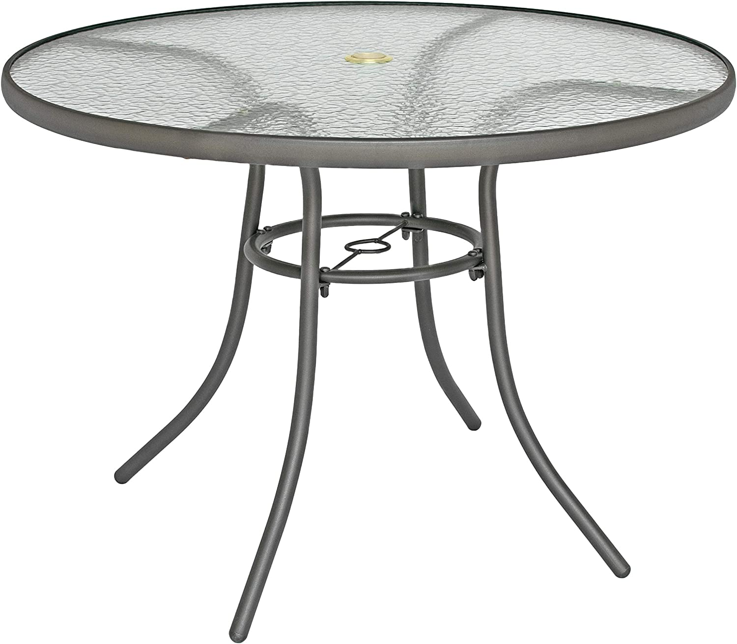 Rio Brands 40 inch Sienna Round Patio Table with Tempered Glass Top Shadow Gray