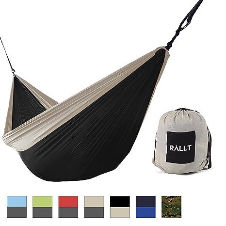 rallt single camping hammock   ripstop parachute nylon   lightweight camping wilderness survival gear   black amazon    rallt camping hammock   durable ripstop lightweight      rh   amazon