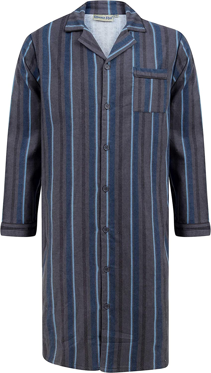 Walker Reid Mens Cotton Full Length Button Up Traditional Striped Nightshirt