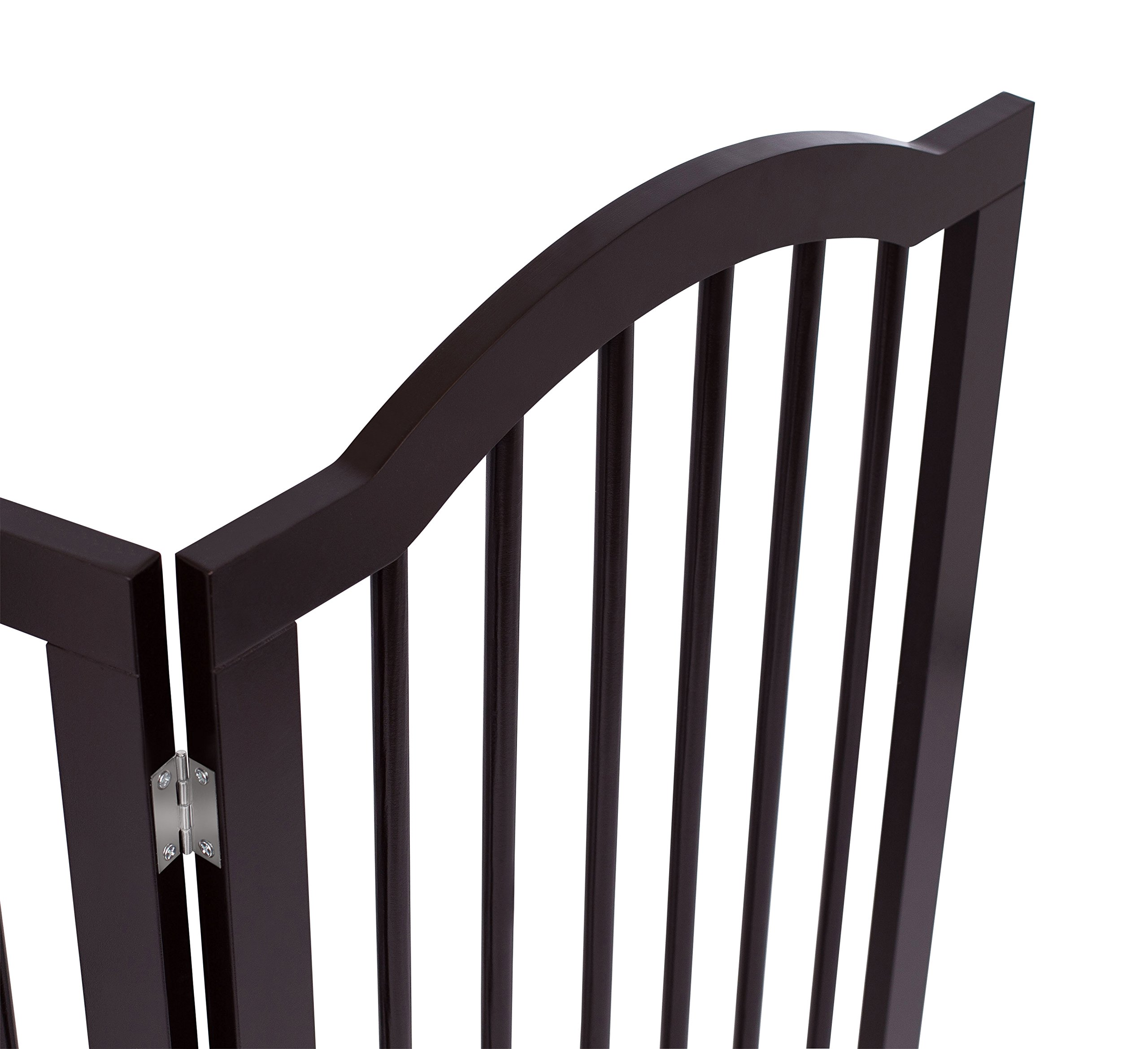 Internet's Best Pet Gate with Arched Top   4 Panel   36 Inch Tall Fence   Free Standing Folding Z Shape Indoor Doorway Hall Stairs Dog Puppy Gate   Fully Assembled   Espresso   Wooden by Internet's Best (Image #5)