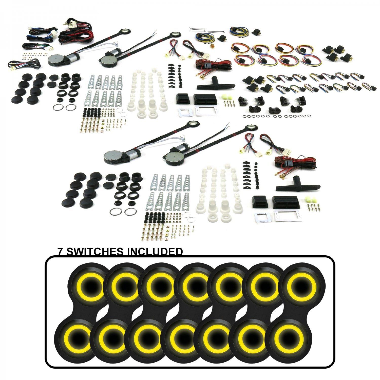 with 7 ABB26 - Retro Black Switches Yellow Illumination AutoLoc Power Accessories 18658 4-Door Universal Power Window Kit