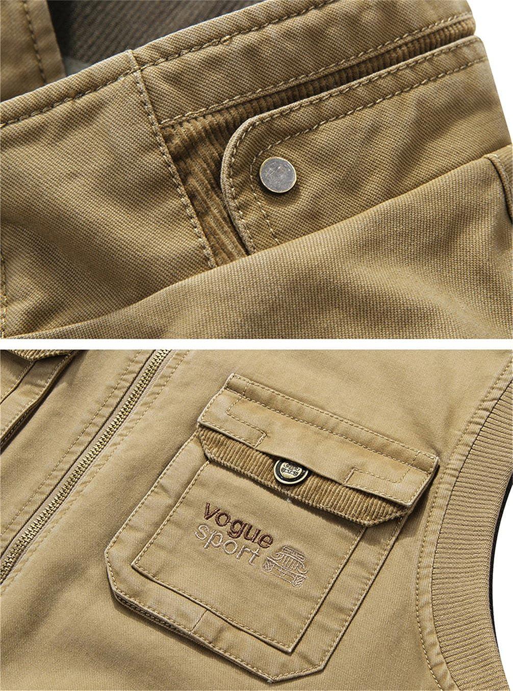 Z6M6 Herren Gute Qualit/ät Multi-Tasche Milit/är Baumwolle Weste Outdoor Angeln Jagd Schie/ßen /Ärmellos Schnell Trocknend Jacken Mens Multi-Pocket Vest