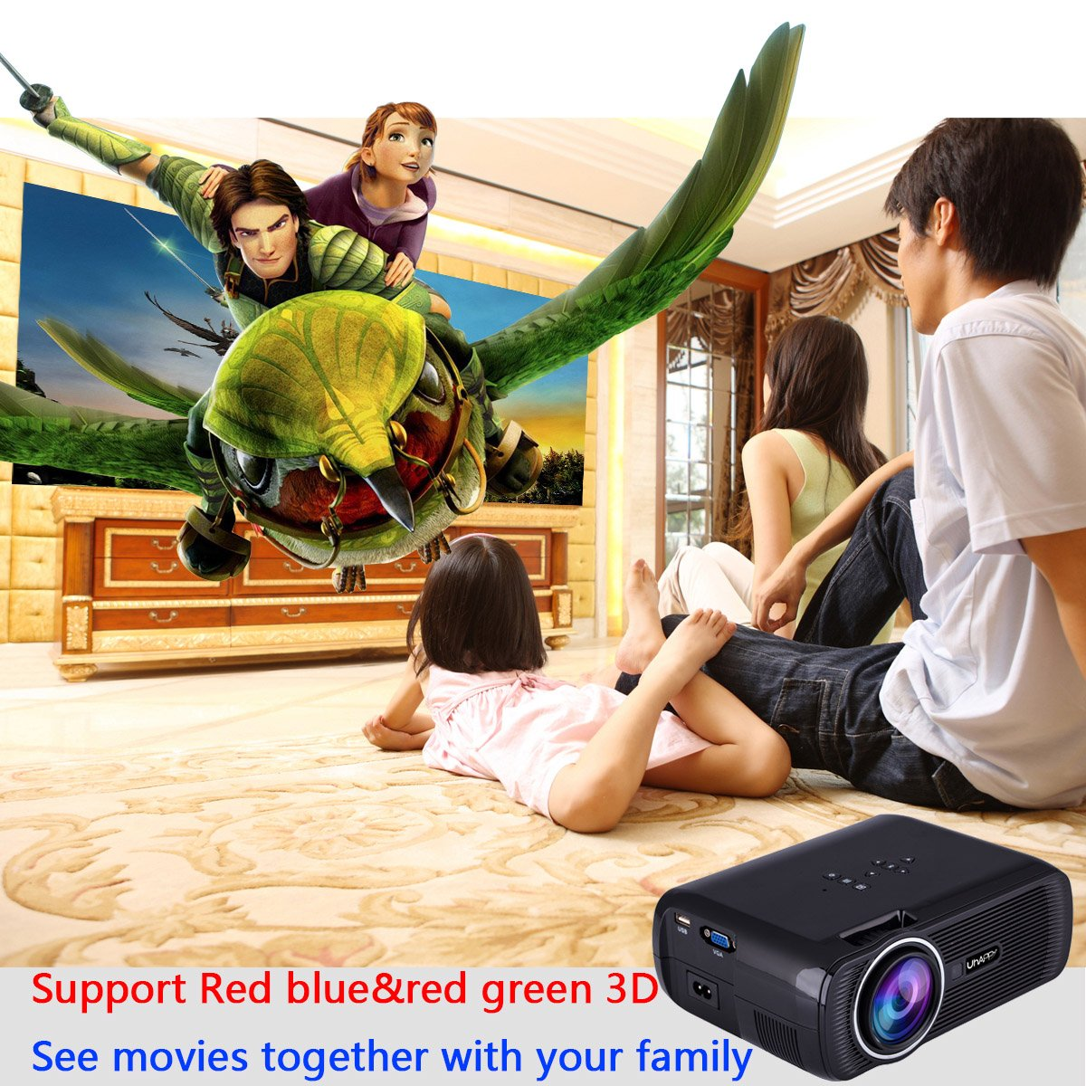 UHAPPY U80 Mini LED HD projector Portable projector (EN) - Black by U Happy (Image #9)