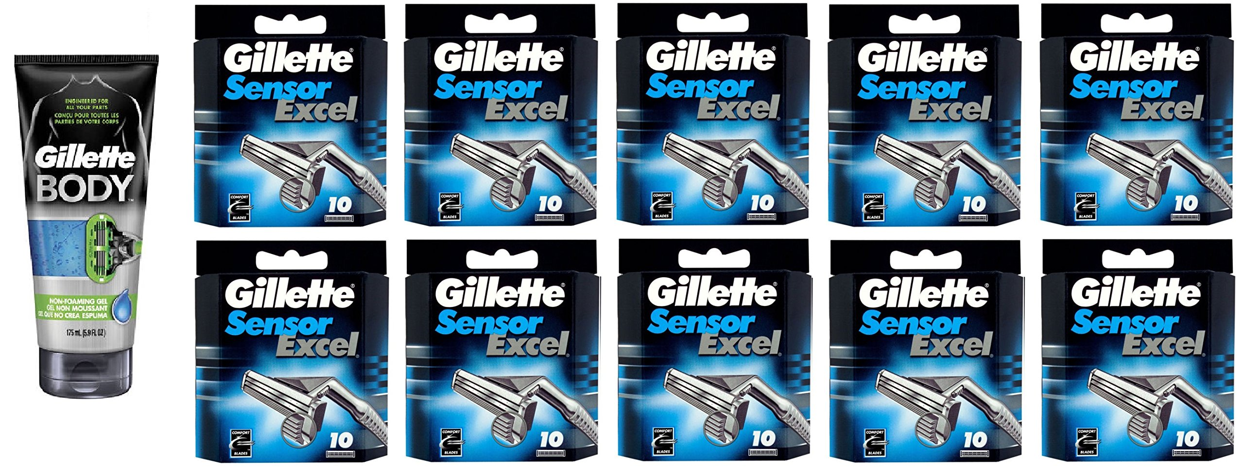 Gillette Body Non Foaming Shave Gel for Men, 5.9 Fl Oz + Sensor Excel Refill Blades 10 Ct. (10 Pack) + FREE Travel Toothbrush, Color May Vary