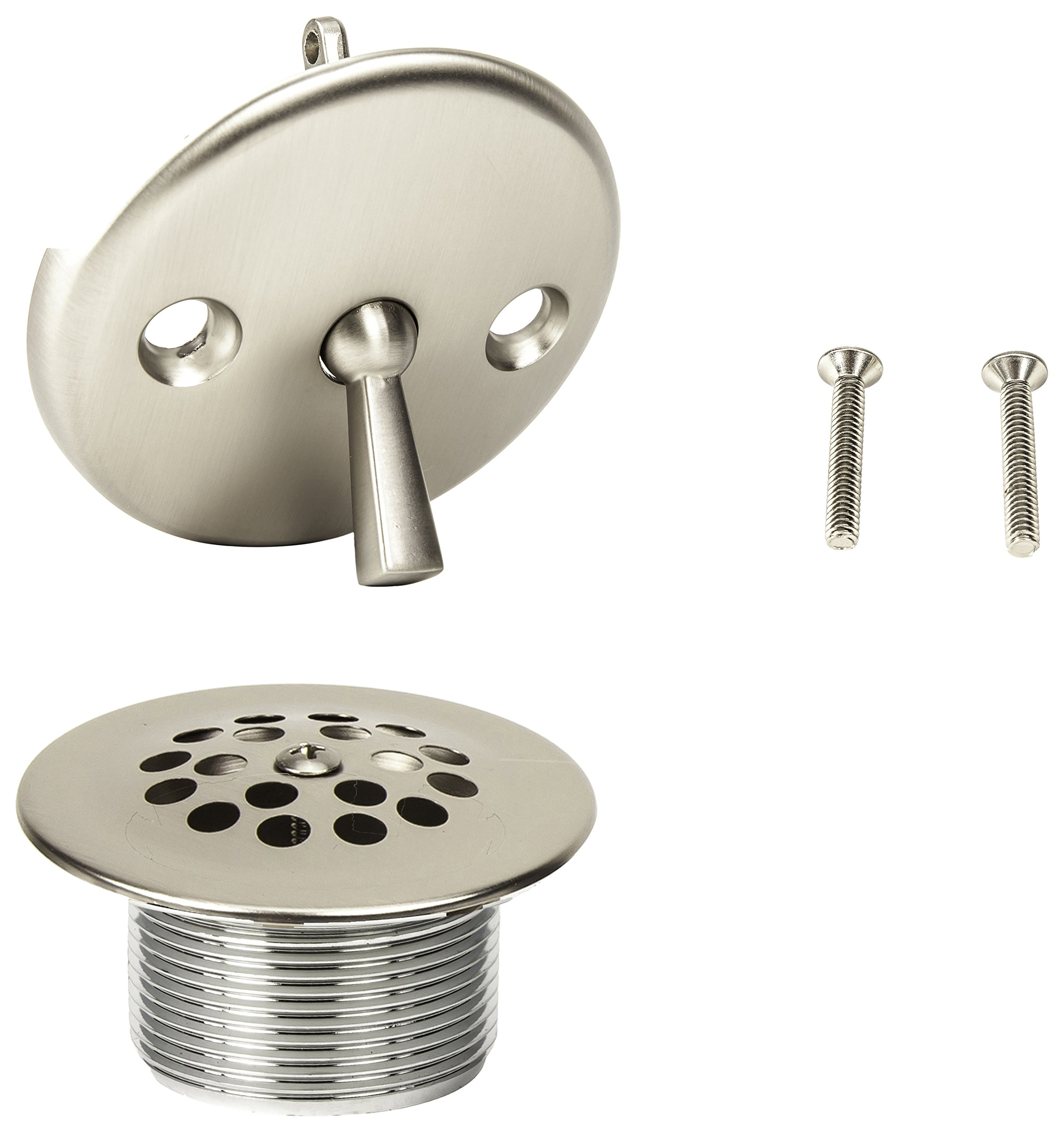 PF WaterWorks PF0972-BN Bathtub Drain Assembly (Drainshoe, Traditional Strainer & Trip Lever Waste & Overflow Face Plate), Brush Nickel