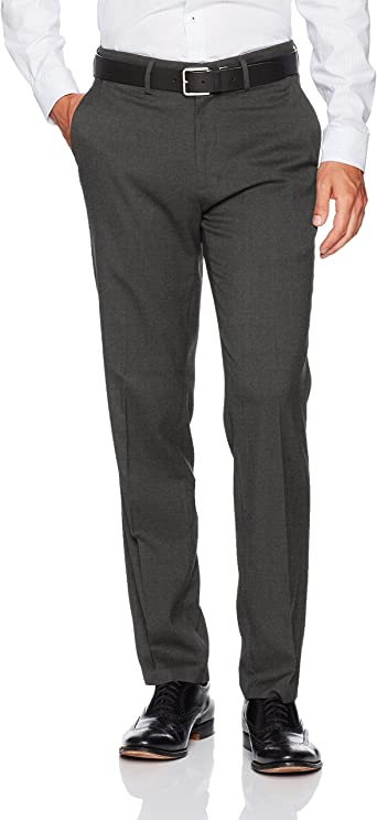 34Wx32L J.M Dark Grey Heather Haggar Mens Sharkskin Superflex Waist Straight Fit Dress Pant