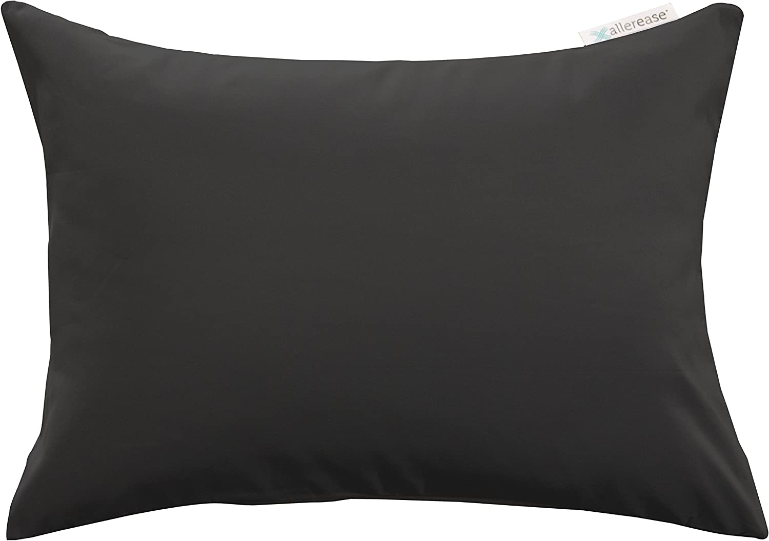 "AllerEase Allergy Protection Zippered Travel Pillow Protector, 14""x20"" (Black) – Soft Touch Microfiber Fabric - Block Dust Mites and Other Allergens from Travel/Toddler Pillow – Machine Washable"