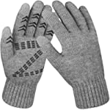 Winter Gloves Knit Touch Screen Glove Anti Slip Warm Liner Thermal Gloves for Men and Women Gray