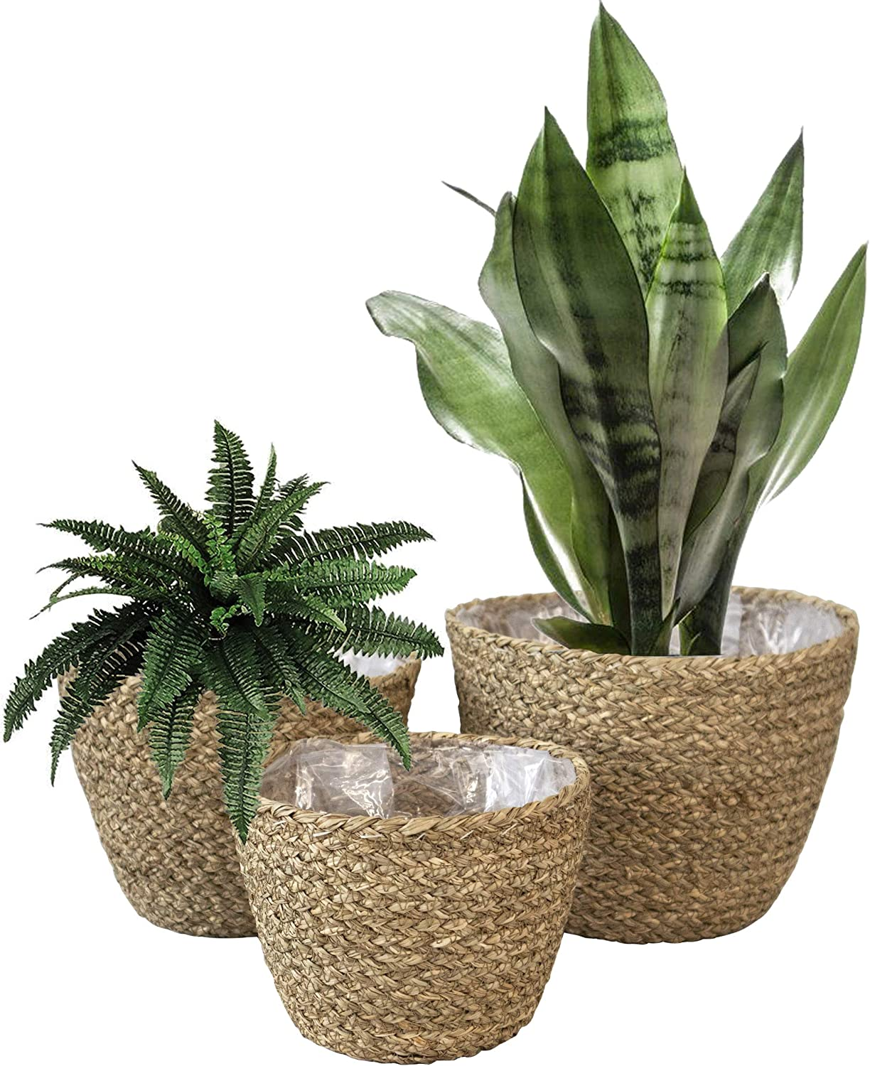 Made Terra Set 3 Woven Plant Pot Basket Indoor Planters, Natural Seagrass Willow Wicker Flower Planter Pot Container Basket for Home Garden Rustic Countryside Decor (Natural)