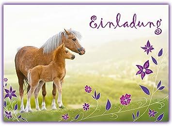 Schön 12 Pferde Einladungskarten Zum Kindergeburtstag // Geburtstagseinladungen  Mädchen Einladungen Geburtstag Kinder Blumen Einhorn Pferd Pferdeparty