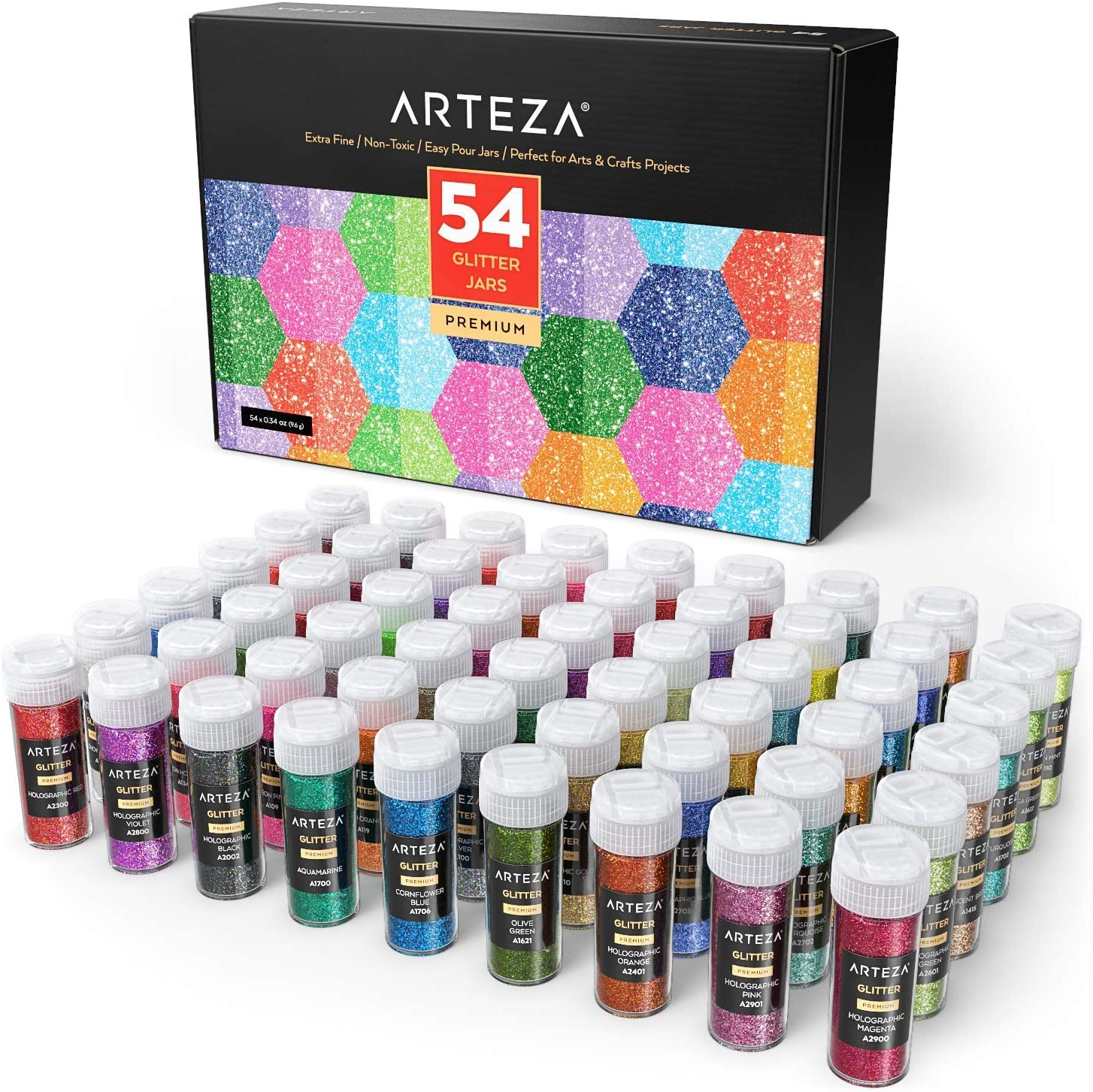 ARTEZA Fine Glitter, Set of 54 Colors, Shaker Jars (0.34oz/9.6 g) Glow Under UV Black Light, Extra Fine, All Purpose for Body, Face, Slime, Crafts
