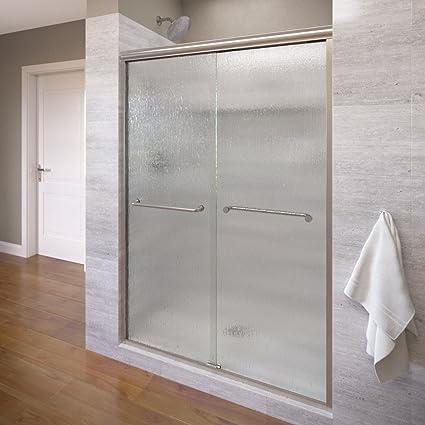 Basco Infinity Frameless Sliding Shower Door Fits 56 58 5 Inch Opening Rain Glass Brushed Nickel Finish