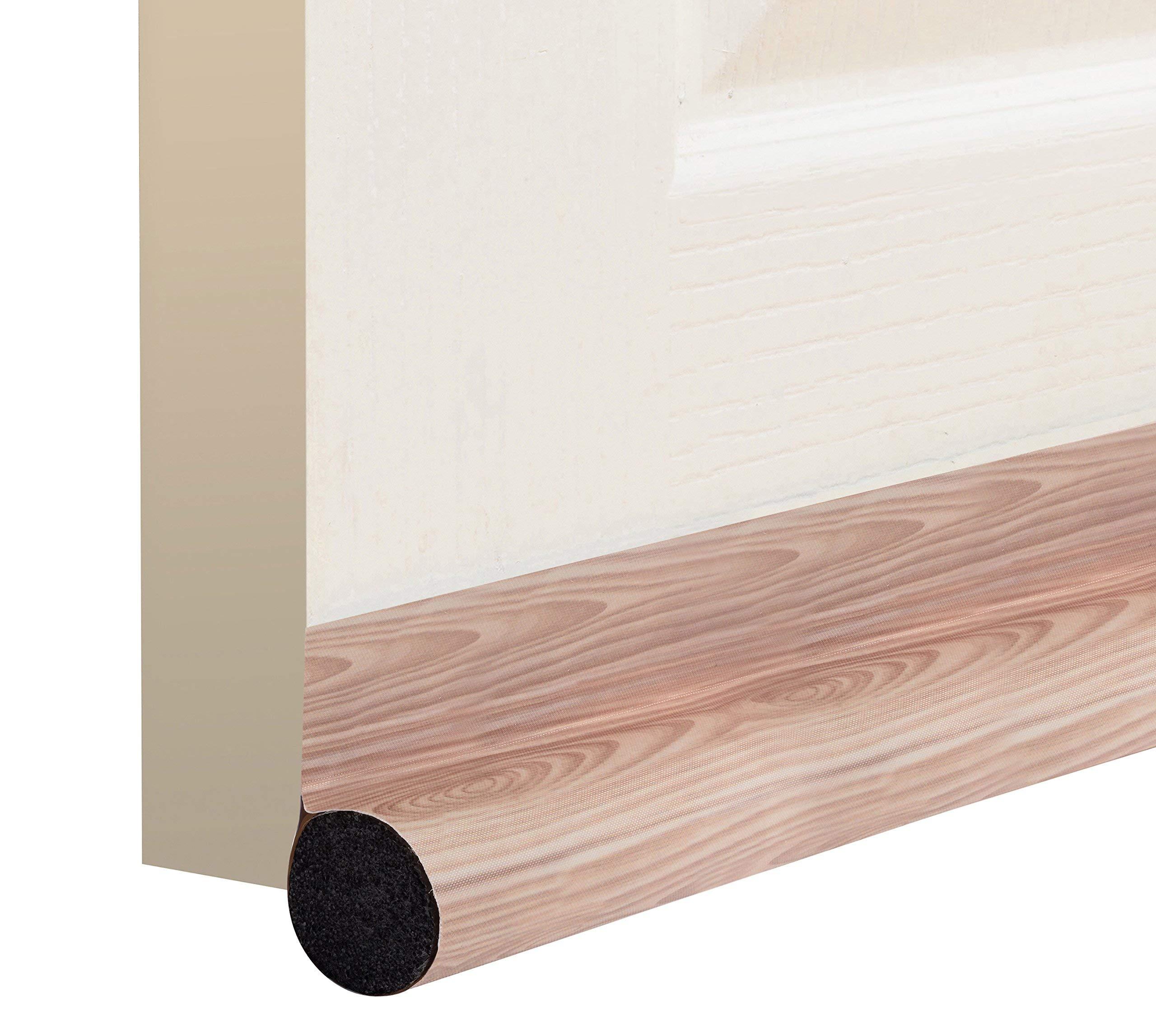 """Door Draft Stopper 36"""": One Sided Door insulator/ Velcro Self-Adhesive Seal Fits To Bottom Of Door / Under Door Draft Blocker / Door Weather Stripping(Light Walnut Wood grain)"""