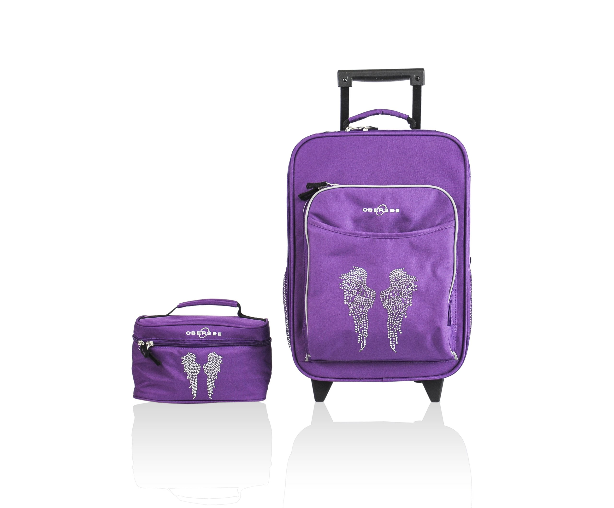 Kids Luggage Set, Large Rolling Piece and Travel Toiletry Case (Rhinestone Angel Wings) - Obersee