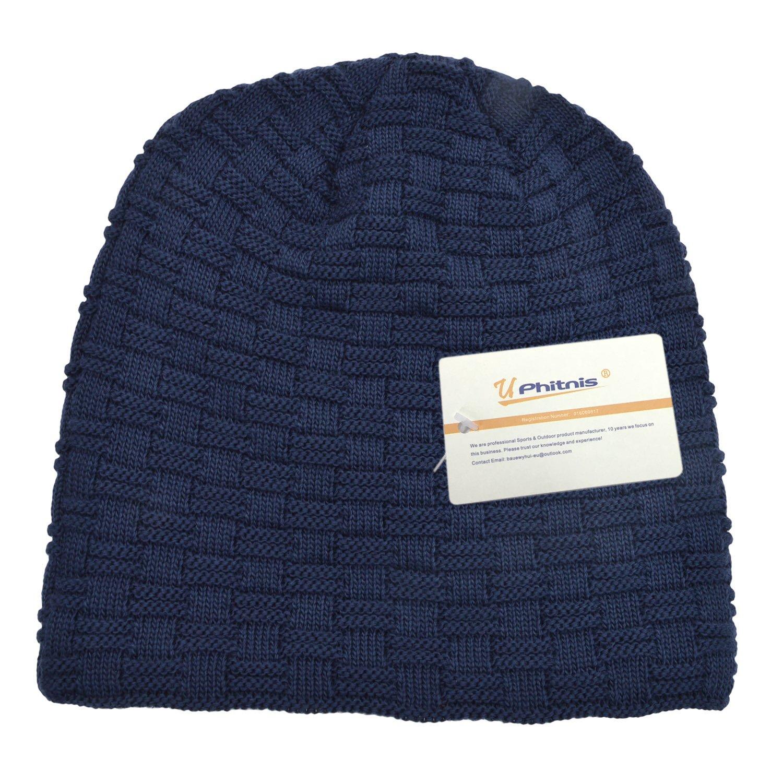 UPhitnis Warme Feinstrick Beanie M/ütze mit Flecht Muster und Sehr Weichem Fleece Innenfutter Winterm/ütze f/ür Herren Damen