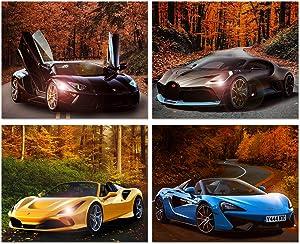 Car Posters - Lamborghini, Ferrari, Mclaren, Bugatti, Sports Car Wall Art - Supercar Decor Set of 4 Unframed (10x8 inches) Exotic Supercars Pictures - Autumn Theme