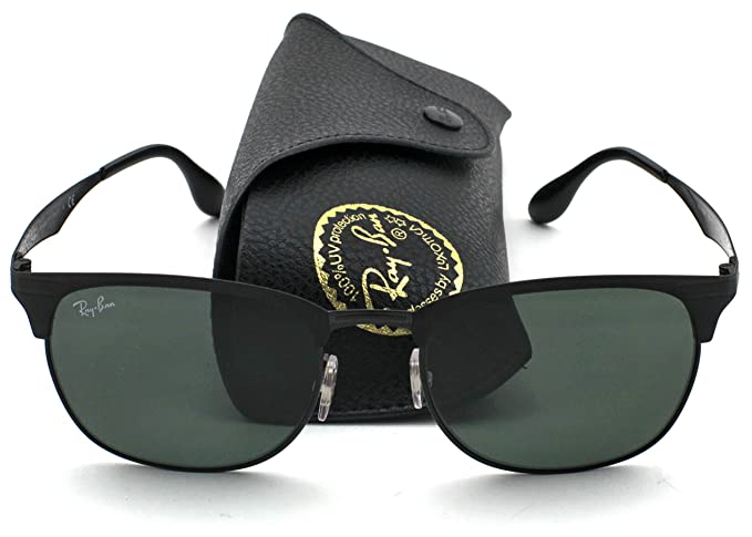 Ray-Ban RB3538 Clubmaster Unisex Metal Sunglasses (Black Frame Green  Classic Lens 186 90ad1c9a02