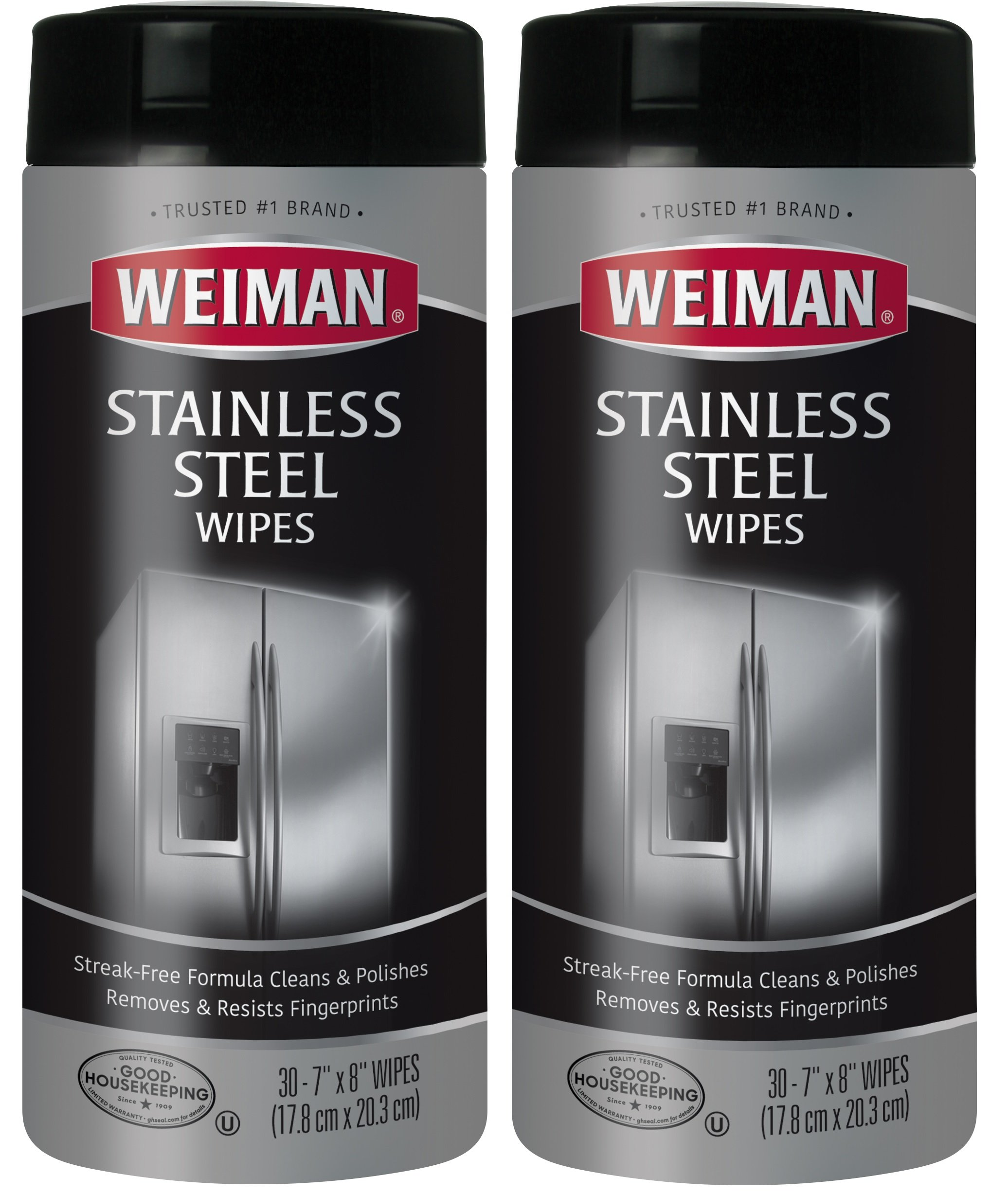 Weiman Stainless Steel Cleaning Wipes [2 Pack] Removes Fingerprints, Residue, Water Marks and Grease From Appliances - Works Great on Refrigerators, Dishwashers, Ovens, Grills and More by Weiman