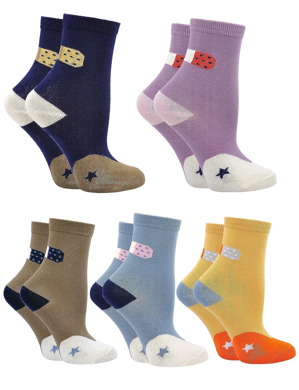Cotone Calzini per Bambini e Neonati, Cartone Animato Calze alla Caviglia per Bambina e Bambini, Traspirante, 1-9 Anni, 5 Paia
