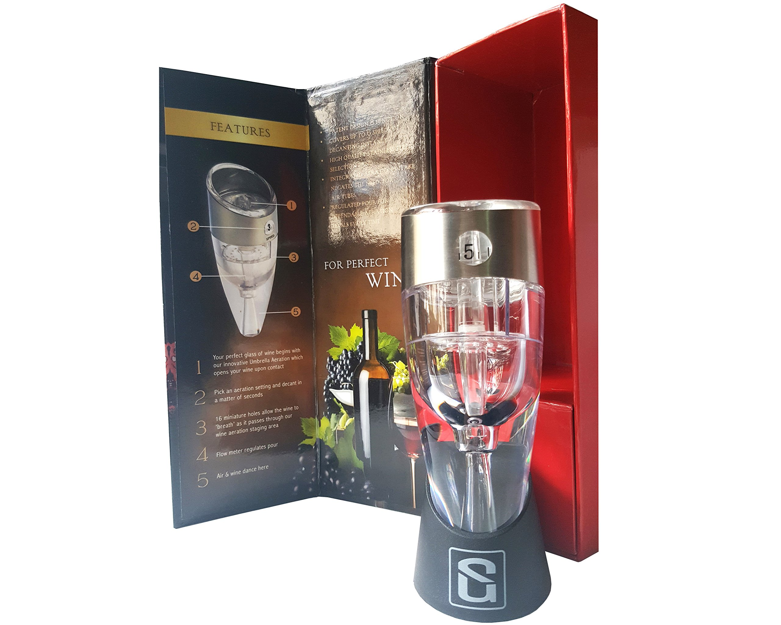 JPML Adjustable Wine Aerator Decanter Pourer - FDA & LFGB Approved, Premium Gift for Party, Bar, Home and Event.