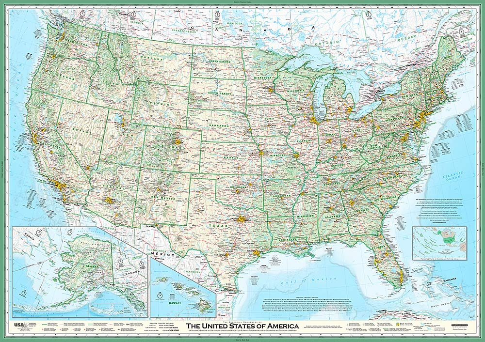 United States Map - The Essential Geography of the USA - Self-Adhesive Wallpaper Mural in Various Sizes by MagicMurals by Magic Murals