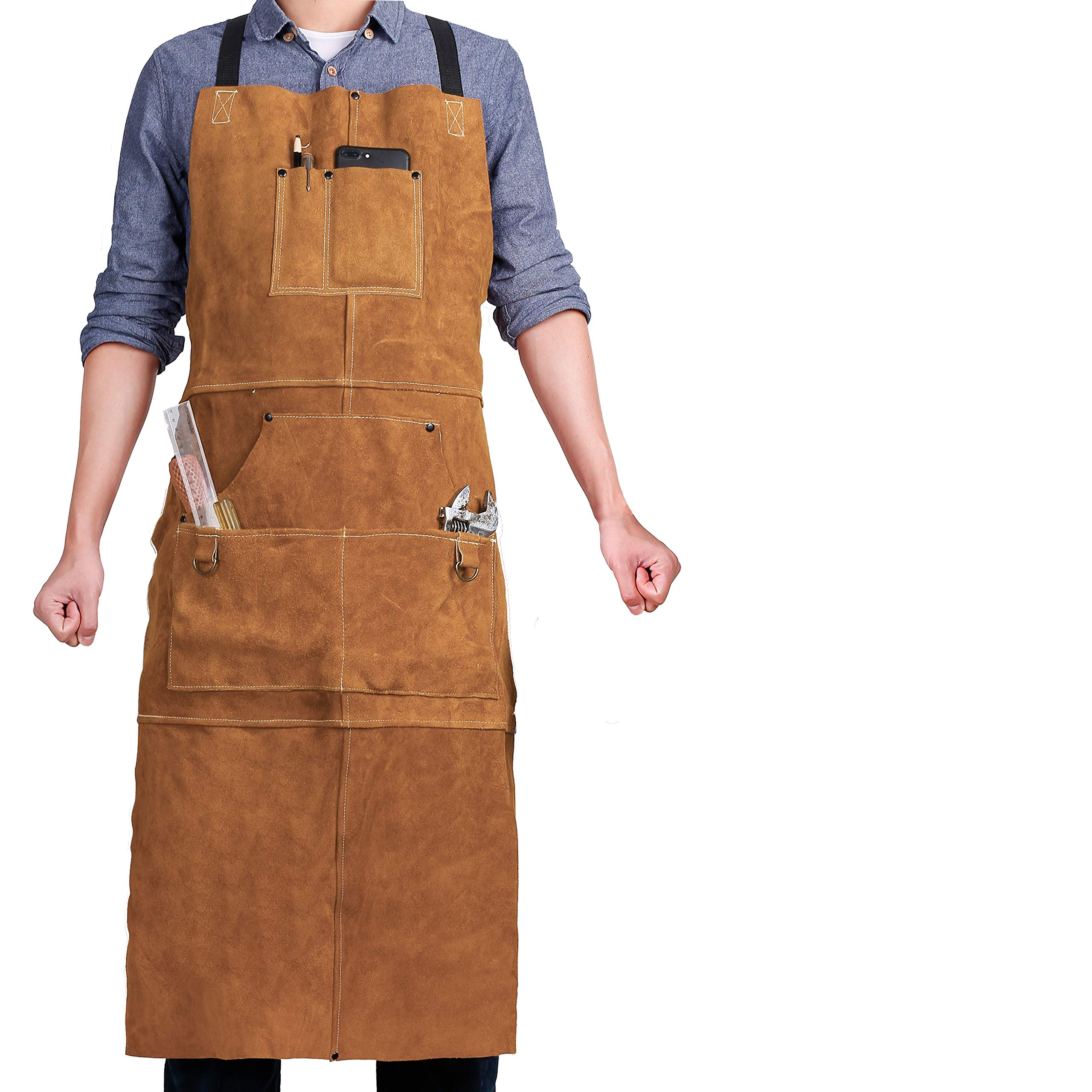 QeeLink Leather Welding Apron - Heat & Flame-Resistant Heavy Duty Work Apron with 6 Pockets, 42'' Extra Large & Cross Back Extra Long Strap, Adjustable M to XXXL Aprons for Men & Women (Brown) by QeeLink (Image #2)