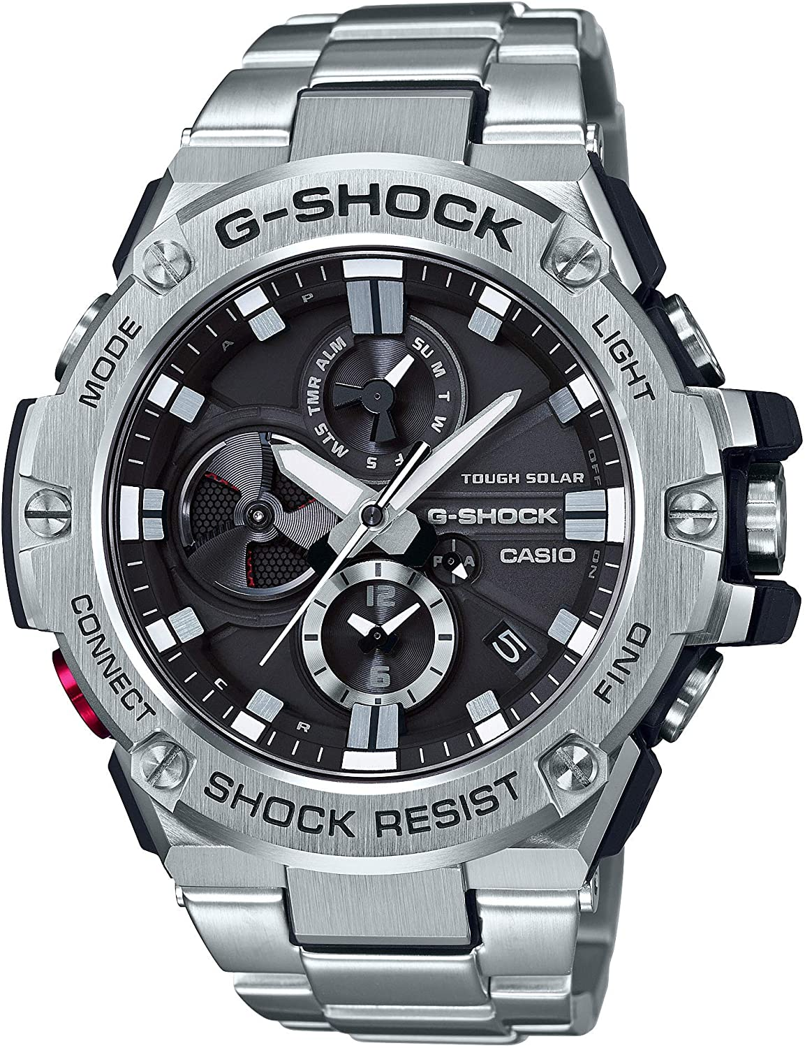 Casio Men s G-Steel by G-Shock Quartz Solar Bluetooth Connected Watch with Stainless-Steel Strap, Silver, Model GST-B100D-1ACR