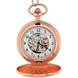 Boxx Mens Rose Gold Tone Skeleton Mechanical Pocket Watch 12 Inch Chain Boxx242