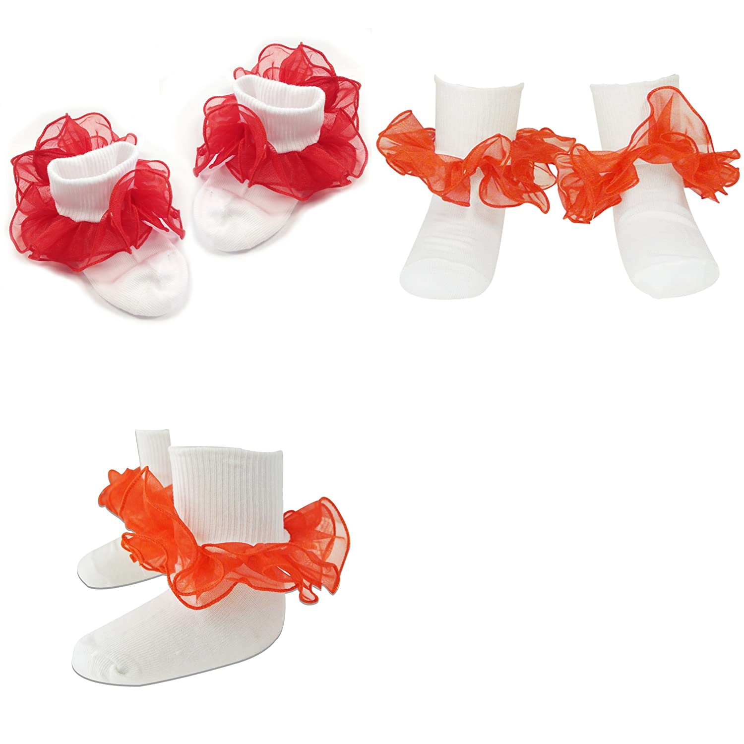 - Purple Size 4-6 Wrapables Lil Miss Mia Organza Ruffle Socks for Toddler Girl Set of 4 Yellow Green Pink