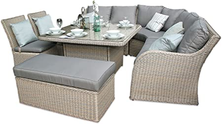 Featuredeco Nottingham Corner Sofa Dining Outdoor Rattan Set Champagne Amazon Co Uk Kitchen Home