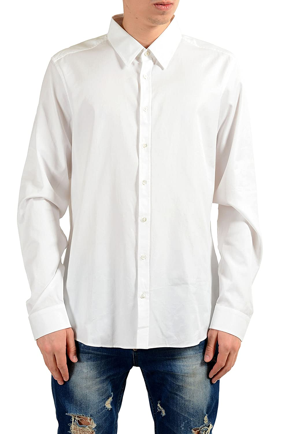Amazon Gucci Mens White Long Sleeve Slim Dress Shirt Us 175