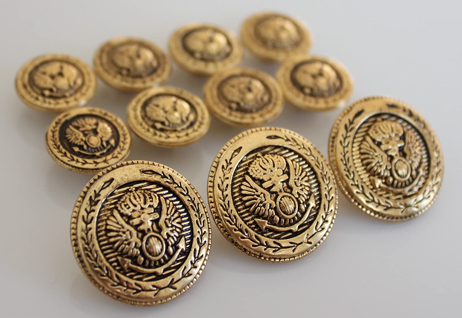 YCEE ANTIQUE GOLD Finished ~CROWNED EAGLE CREST~ METAL BLAZER BUTTON SET ~ 11-Piece Set of Shank Style Fashion Buttons For Single Breasted Blazers, Sport Coats, Jackets & Uniforms