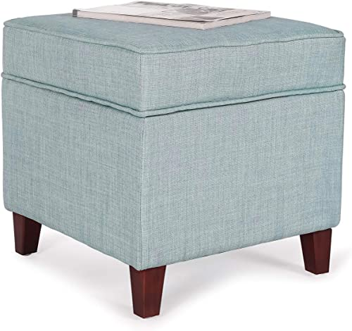Furnistar 17.9 Modern Design Fabric Square Ottoman Foot Rest Stool Light Blue