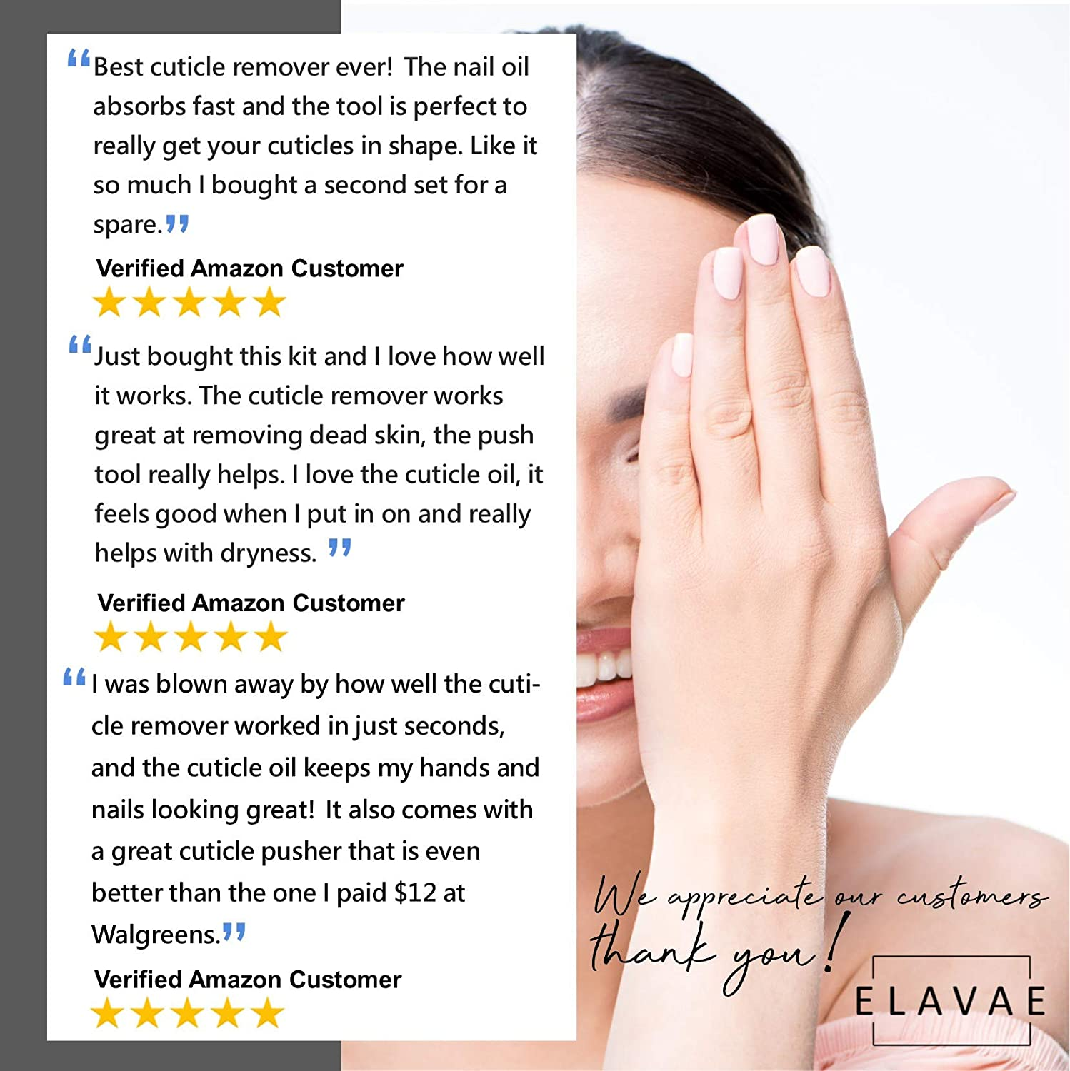 Elavae Manicure Pedicure Kit with Cuticle Oil and Cuticle Remover Gel Cream. All Natural Oil with Vitamin E and Other Nourishing Oils. Nail Softener and Strengthener. (3 Piece Kit WITH Pusher Tool) : Beauty