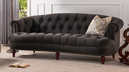 Jennifer Taylor Home La Rosa Collection Chesterfield Style Diamond Tufted Upholstered Velvet Sofa With Rolled Back Wooden Legs, Charcoal