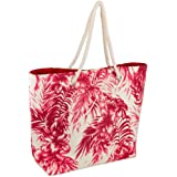 (Palm Coral) - DII Shoulder Beach Travel Tote Bag-Coral, Palm Coral