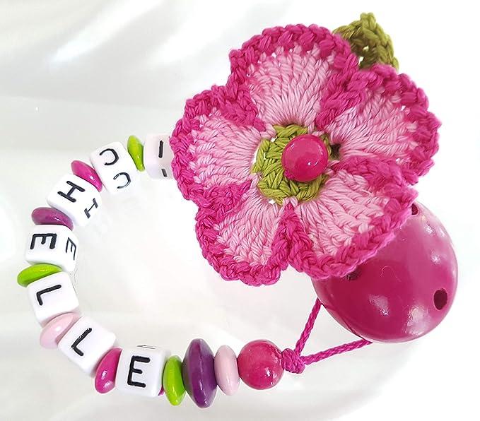 Cadena para chupete con nombres, flores, Bautizo, ganchillo flor ...