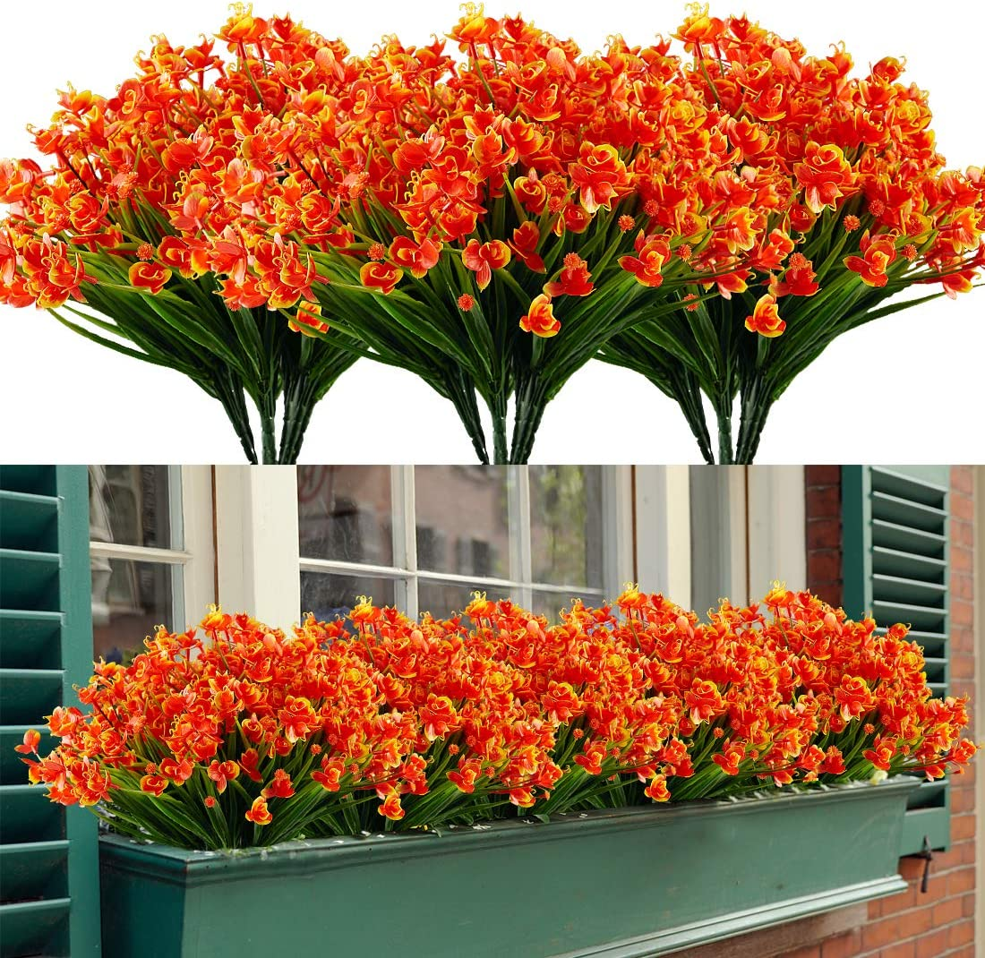 HAPLIA 8 Bundles Artificial Phalaenopsis Flowers, Fake Artificial Greenery UV Resistant No Fade Faux Plastic Plants for Wedding Bridle Bouquet Indoor Home Garden Kitchen Office Table Vase (Orange Red)