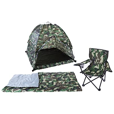 Pacific Play Tents 23335 Kids Green Camo Dome Tent Set with Sleeping Bag and Chair: Toys & Games