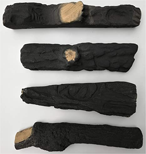 Hmleaf 5 Small Pieces Wood-Like Ceramic Fireplace Logs for Gas Ethanol Fireplaces,Stoves Firepits