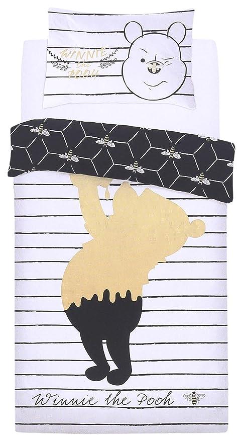 Weiße Und Schwarze Bettwäsche Winnie The Pooh 135x200 Disney Amazon