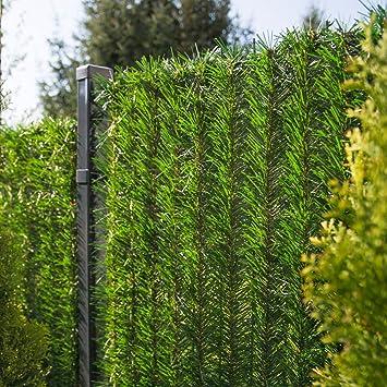 FairyTrees Revêtement de Clôture GreenFences, Haie Artificielle, Brins à  Monter, Couleur: Vert Clair, Hauteur 120cm, 4m