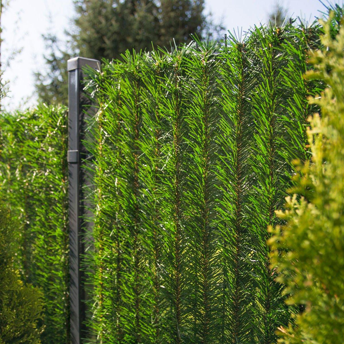 FairyTrees Sichtschutz Garten Zaunblende, GrünFences Hecke, Kiefernoptik Hellgrün, PVC, Höhe 200cm, 10m