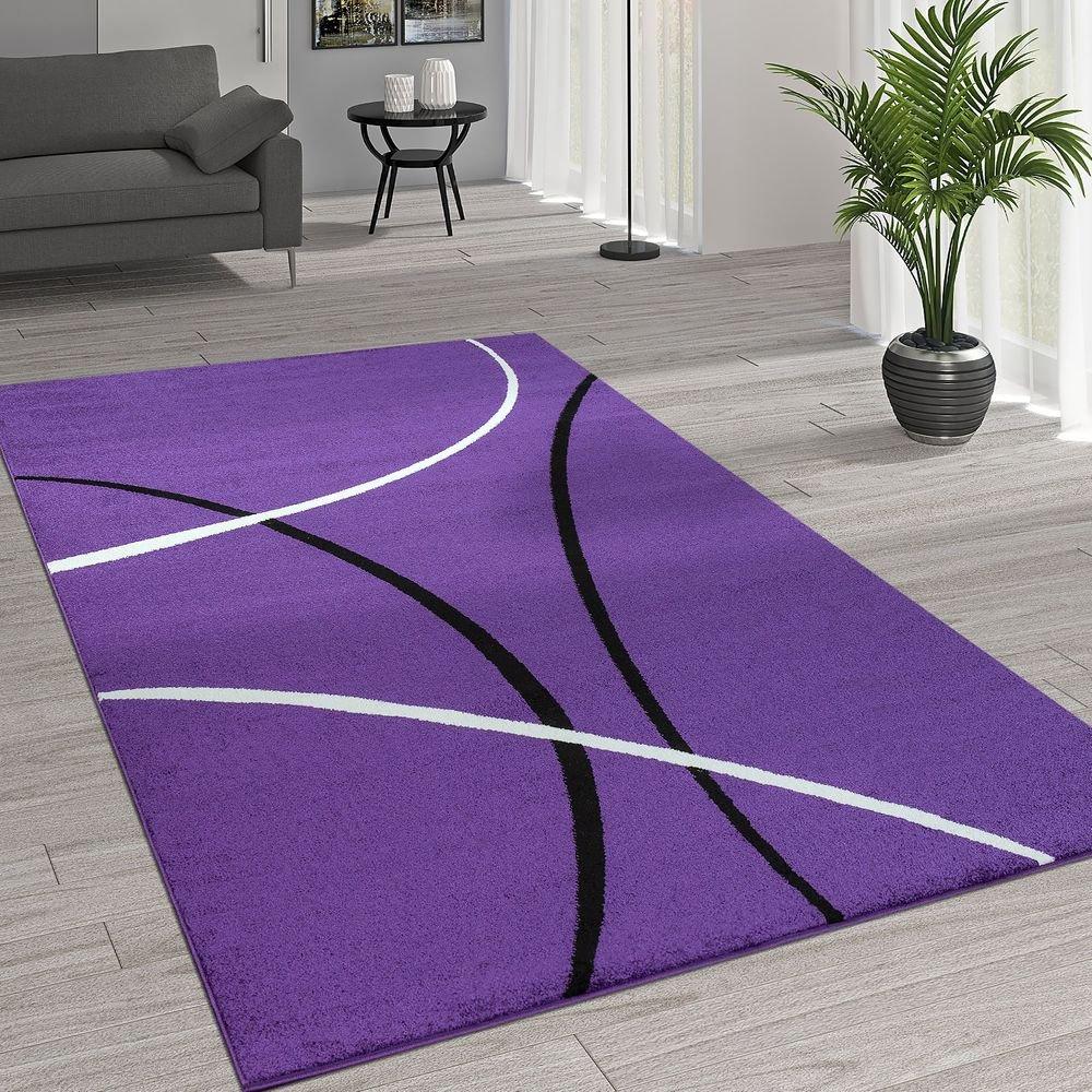 Paco Home Kurzflor Wohnzimmer Teppich Trendige Moderne Linien Muster In Lila Schwarz Weiß, Grösse 160x230 cm