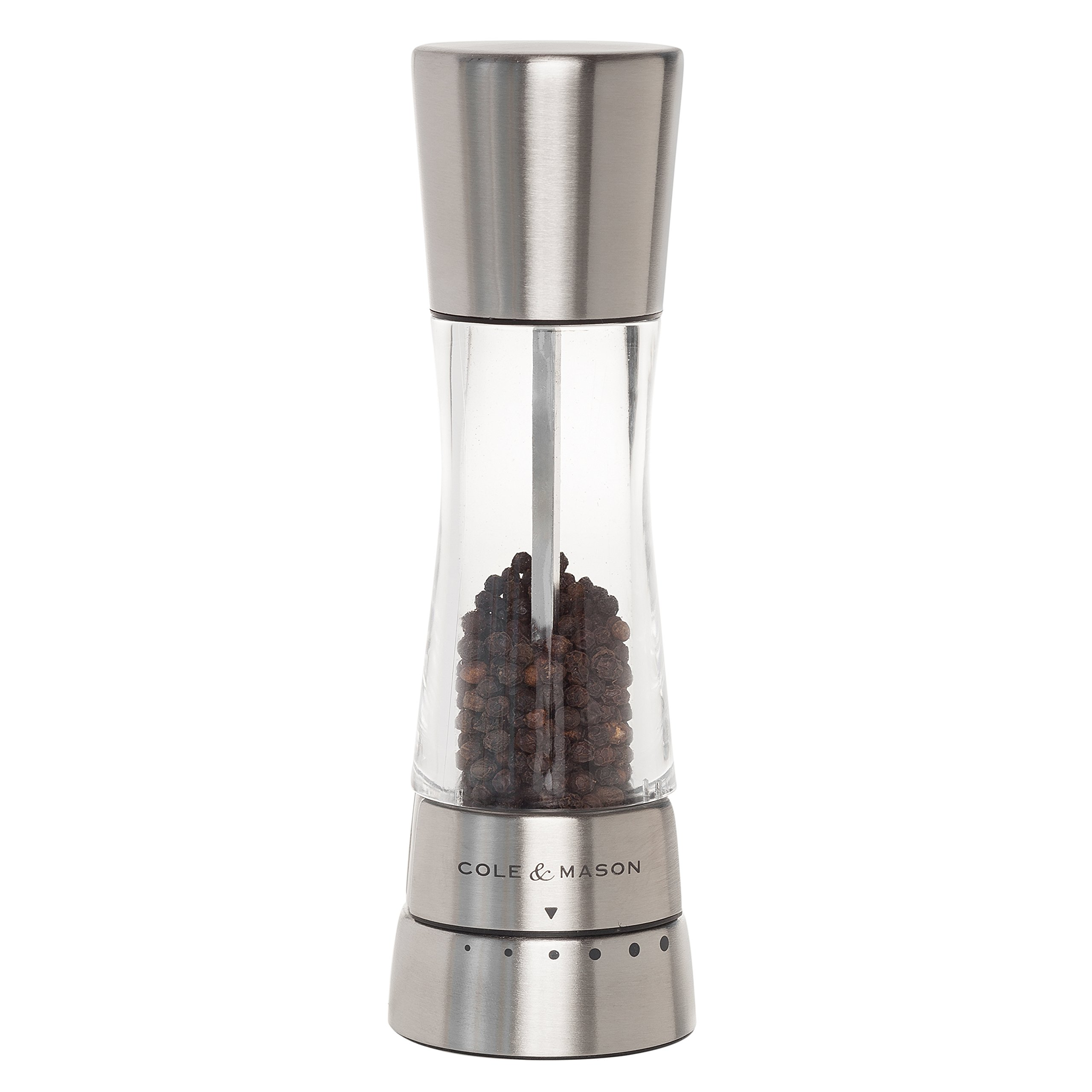 COLE & MASON Derwent Pepper Grinder - Stainless Steel Mill Includes Gourmet Precision Mechanism and Premium Peppercorns