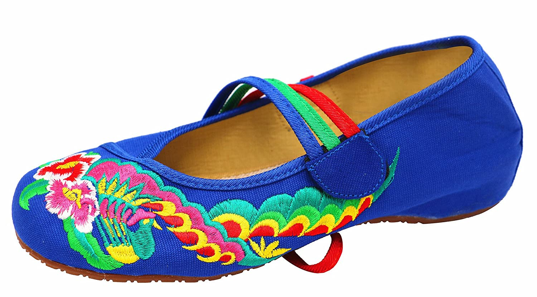 Icegrey Bordado Hecho A Mano Crossover Tobillo Zapatos Planos Para Las Mujeres 37 EU|Azul