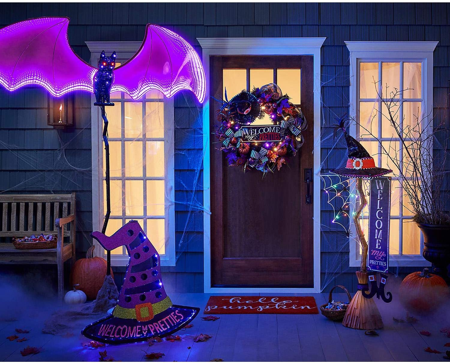 "Halloween Decoration 86/"" LED Infinity Flying Bat 400 LEDs Indoor or Outdoor"