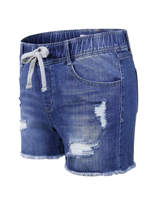 makeitmint Womens Comfy Elastic Band Denim Jean High Waist Jogger Shorts