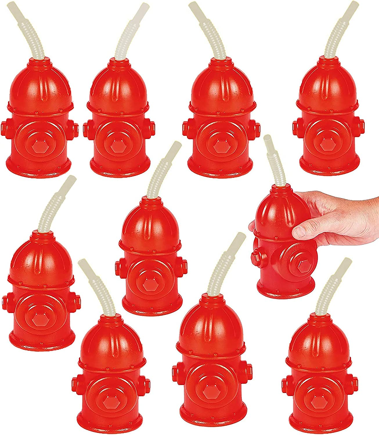 Fire Hydrant Straw Cups With Lids (10 Pack) 12oz - for Paw Dog Patrol Party Supplies, Firefighter Birthday Party Favors, Firetruck & Fireman Party Décor, Rescue Dog Marshall Party by 4E's Novelty