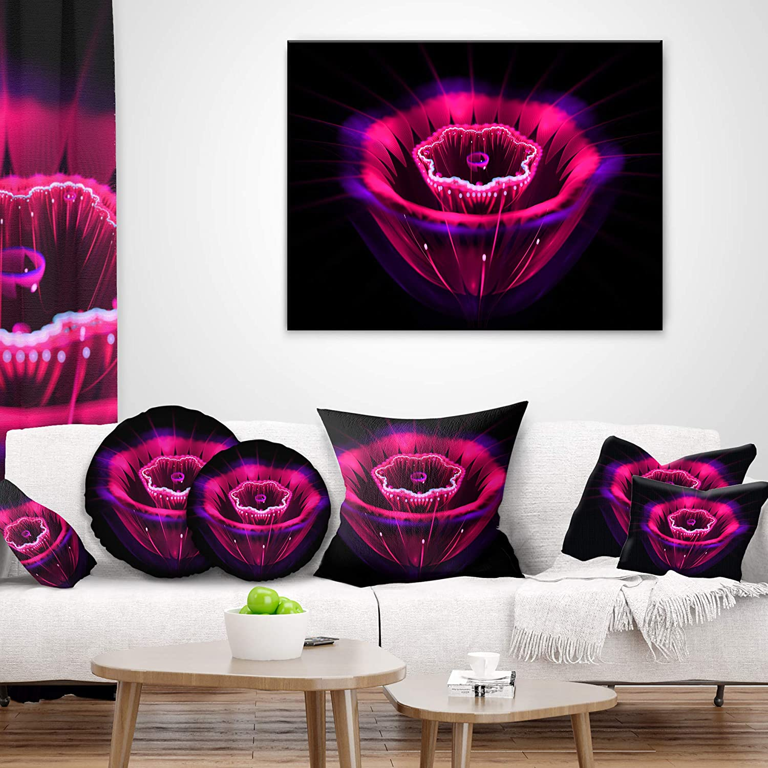 Designart CU13212-26-26 Abstract Magenta Fractal Flower Floral Cushion Cover for Living Room Sofa Throw Pillow 26 x 26